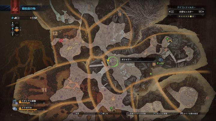 「龍結晶の地」エリア8のガジャブーの言語痕跡がある場所