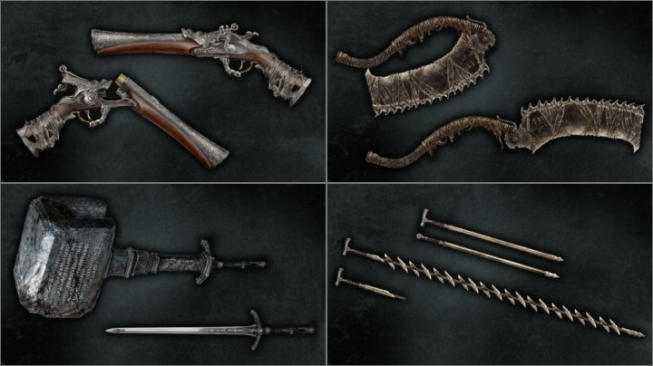 右手に仕掛け武器(変形武器)、左手には銃