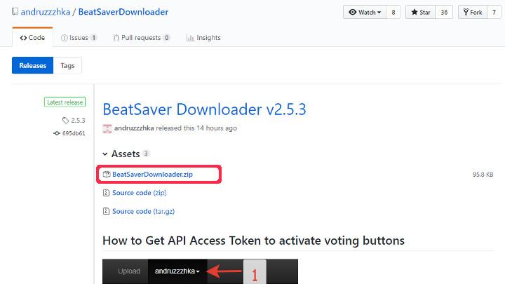 BeatSaverDownloaderダウンロードページ