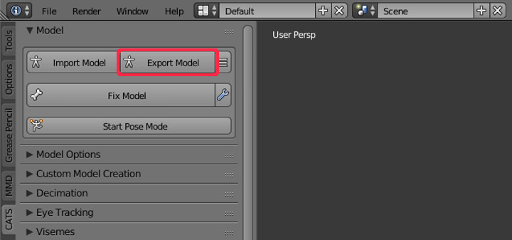 MMDモデルのpmxファイルをfbxに変換する方法【Blender】 | のしろぐ