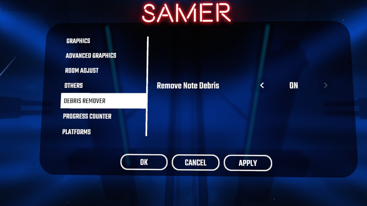 Debris Remover SETTINGS
